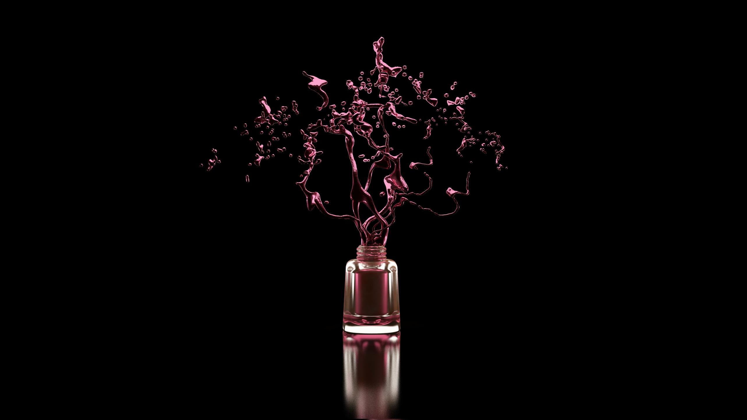 Stylischer schwarzer Hintergrund mit Nagellackflasche und Spritzer